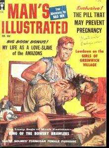 MAN'S ILLUSTRATED 1959 FEB-WEIRD SNAKE ATTACK STORY VG/FN