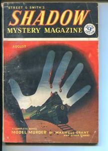 Shadow Mystery 8/1954-Street & Smith-British pulp-Edd Carter art-VG