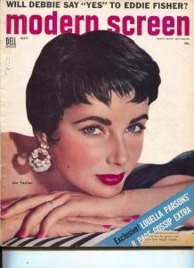 Modern Screen-Liz Taylor-June Allyson-Dick Powell-Oct-1954