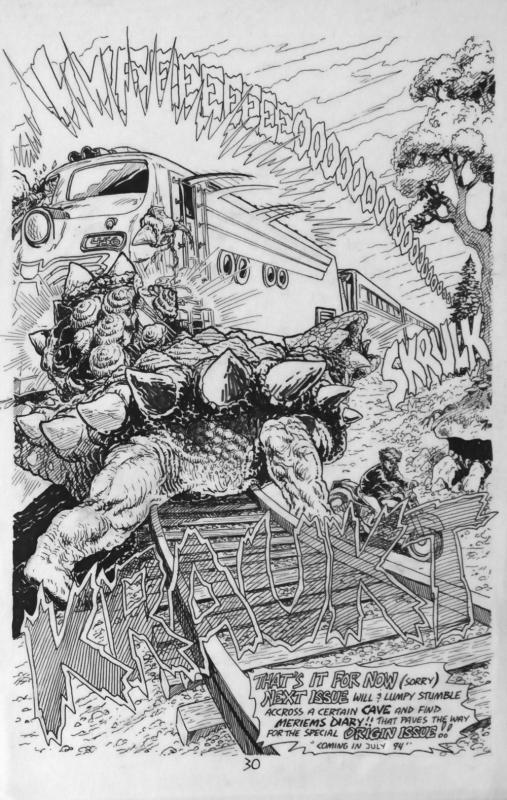 BUDD ROOT original art, CAVEWOMAN #2 pg #30, 1st series, Splash, 1994, Dinosaur