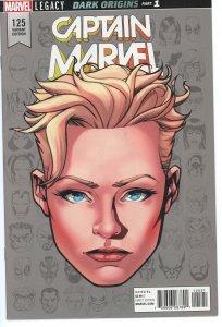 Captain Marvel 125 (2016 series) 9.0 (our highest grade) Legacy Face Variant