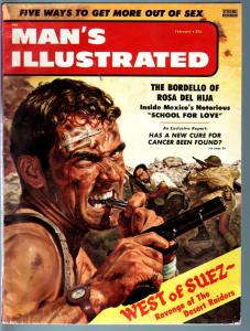MAN'S ILLUSTRATED-FEB 1957-FIGHT COVER-CHEESECAKE-PULP THRILLS-WW II-SUEZ  G