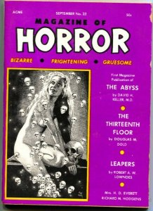 MAGAZINE OF HORROR-BIZARRE-GRUESOME---PULP----SKULL COVER-SEPT 1968