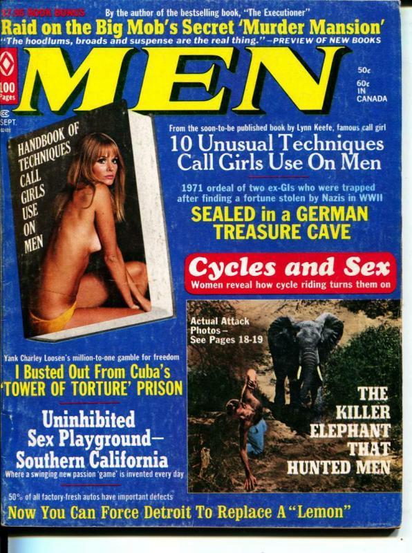 MEN-9/1971-Pussycat-Elephants-Mobs-Call Girls-Adventure