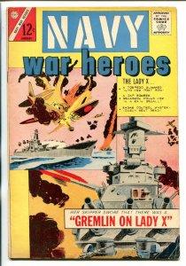 NAVY WAR HEROES #1 1964-CHARLTON-1ST ISSUE-SAM GLANZMAN-WAR ART-vg