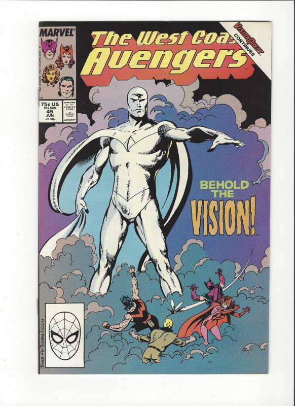 West Coast Avengers #45 1st New Vision  Byrne Art  NM
