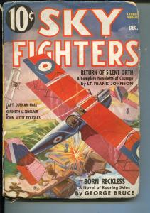 SKY FIGHTERS 12/1936-AIR WAR PULP-THRILLS-WWI-BI-PLANE-good+