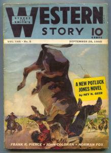Western Story Pulp September 28 1940- Potluck Jones VG