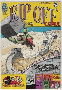 Rip Off Comix #2 (Jan-77) VF High-Grade Wonder Wart-Hog, Freak Brothers, Fat ...