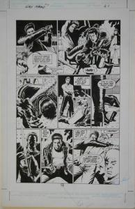 PAUL GULACY original art, SLASH MARAUD #3 pg 21, 13x20,1987, Big fight scene