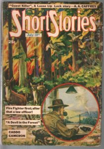 Short Stories 7/10/1947-forest fire cover-Blassingame-pulp thrills-FN-
