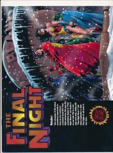 DC Comics THE FINAL NIGHT retailer calendar copy rare ~ Fine  (HX949)