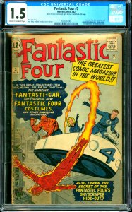Fantastic Four #3 CGC Graded 1.5 Fantastic Four don costumes and establish he...