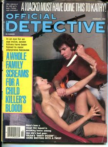Official Detective 2/1984- spicy babe-large knife-crime pulp thrills-VG