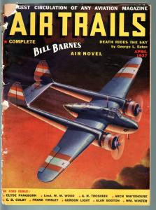 AIR TRAILS PULP 4/1937-AVIATION ART FRANK TINSEY-STREET AND SMITH G