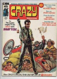 CRAZY #4 Magazine, VF+, Shaft, 1973 1974, Nixon, more in store