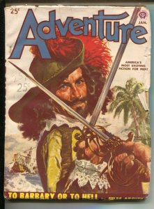 Adventure 1/1950-Popular-Peter Stevens Piracy cover-Pulp fiction-Jim Kjelgaar...