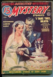 15 Mystery Stories 8/1950-Norman Saunders-skeleton groom-bloody knife-VG-CANADIA