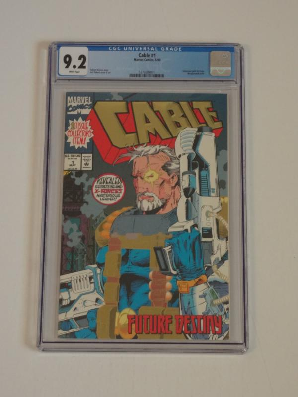 Cable #1, CGC 9.2; Gold foil, wrap-around cover!! Cable origin! Weapon X app.!!
