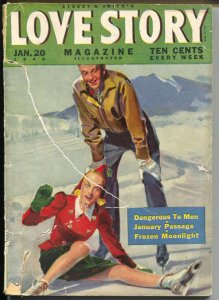 Love Story 1/20/1940-ice skate cover-pulp romance stories-G-