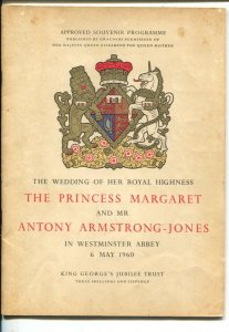 Princess Margaret and Anthony Armstrong-Jones Wedding Program 5/6/1960-VG