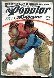 Popular Pulp Magazine November 7 1924-Meadowlark Name- Football cover