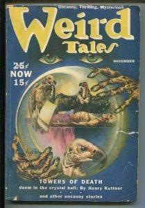 WEIRD TALES 11/1939-PULP-HORROR-VIRGIL FINALY COVER ART-KUTTNER-QUINN-COLTER-vg-