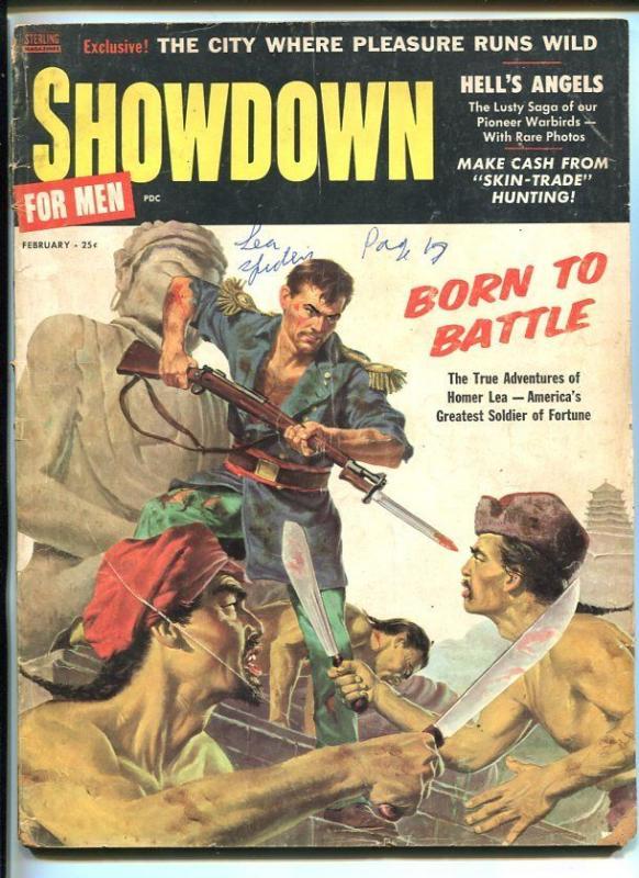 SHOWDOWN FOR MEN-FEB 1958-BATTLE COVER-SEA SPIDERS-CHEESECAKE-good/vg