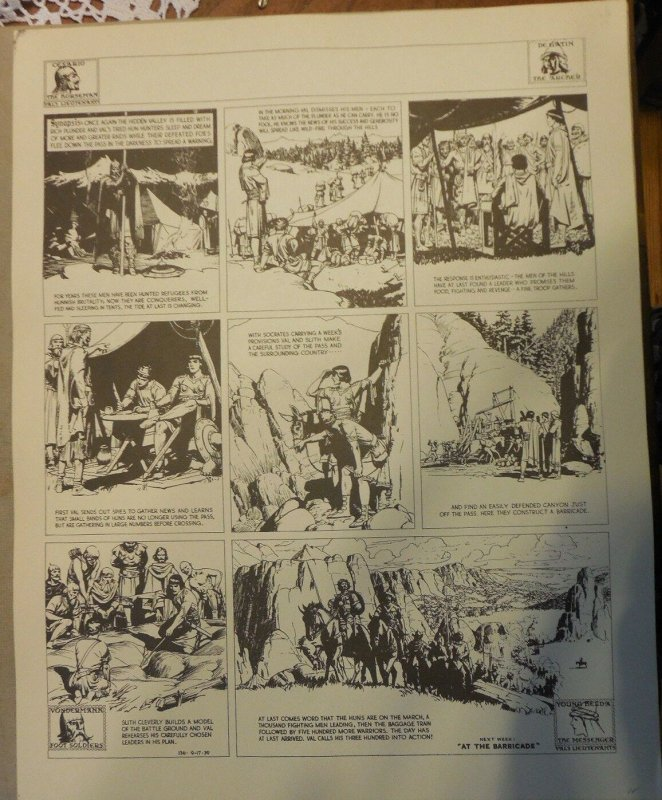 Prince Valiant by Hal Foster Syndicate Proof 9/17/1939  Size 16 x 20 inches