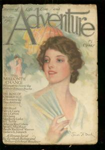 ADVENTURE PULP-OCT 1916-GOOD GIRL ART COVER-TUTTLE-RARE VG