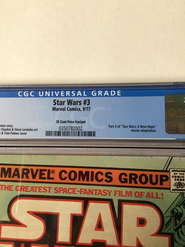 Star Wars 3 Cgc 7.0 White Pages 35c 35 Cent Cents Variant Very Hard To Find