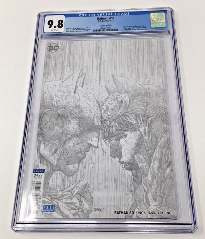 Batman #50 1:100 Jim Lee Sketch cover CGC 9.8 Batman Catwoman wedding issue