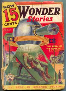 Wonder Stories Pulp August 1935- Reign of the Reptiles- G-
