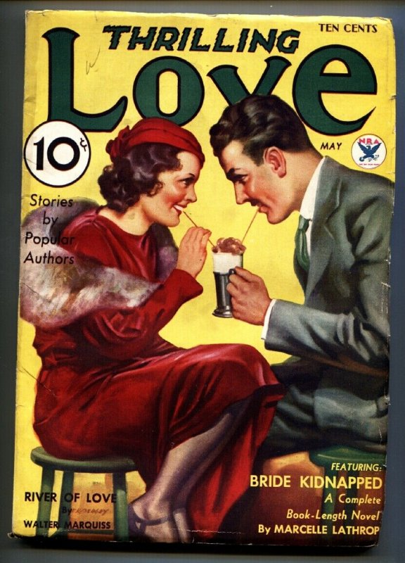 Thrilling Love Pulp May 1934-Earle Bergey soda shop cover-Pulp Magazine