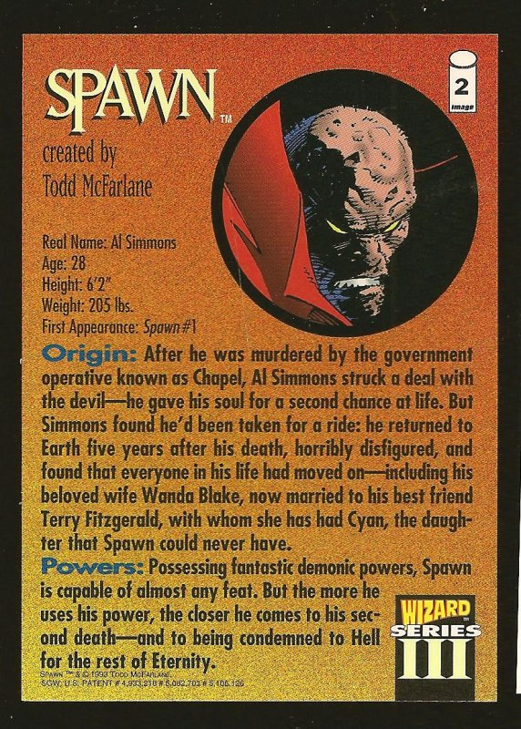 Image Wizard Series III #2 SPAWN 1993 Promo Card