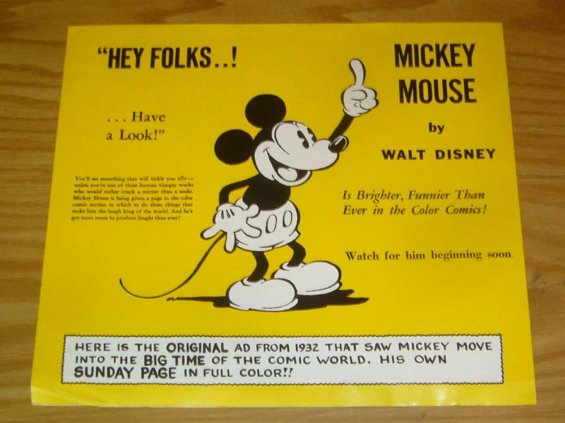 Mickey Mouse poster - 10.5 x 24 - reprints original ad from 1932 of 1st mickey