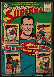 Superman #100 (Sep 1955, DC) 4.0 VG