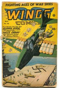 Wings #45 1944- Fiction House- Nazi aircraft carrier cover