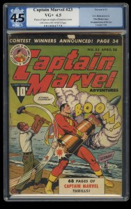 Captain Marvel Adventures #23 PGX VG+ 4.5 WWII Action Cover!