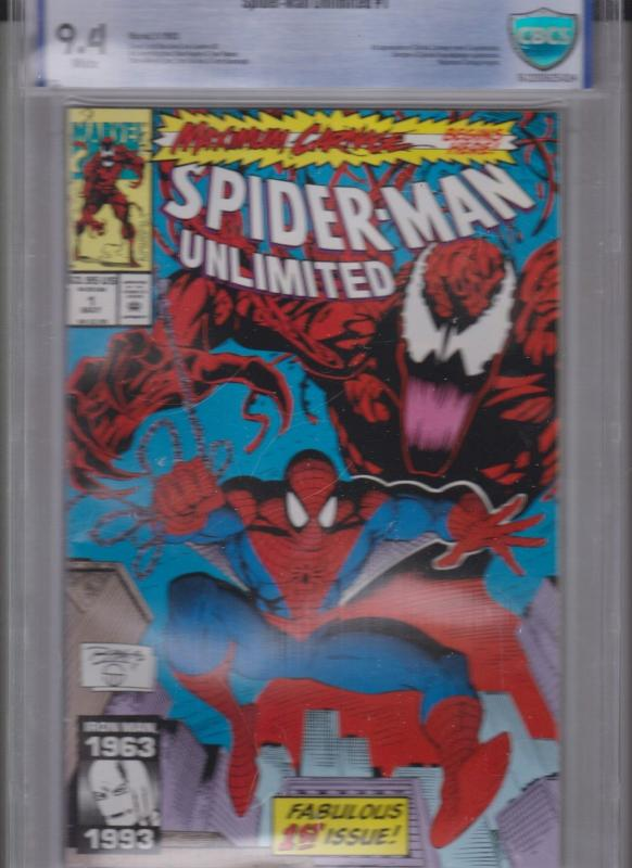 SPIDER-MAN UNLIMITED #1 / CBCS 9.4 / WHITE PAGES-1993 / 1'st APP SHRIEK, CARNAGE