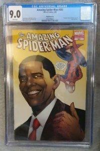 Amazing Spider-man 583 CGC 9.0 Barack Obama Variant Second Printing
