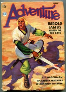 Adventure Pulp August 1939- Harold Lamb- Keeper of the Gate F/VF