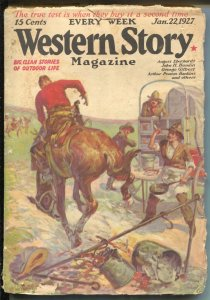 Western Stories 1/22/1927-chuck wagon cover-pulp fiction-G/VG
