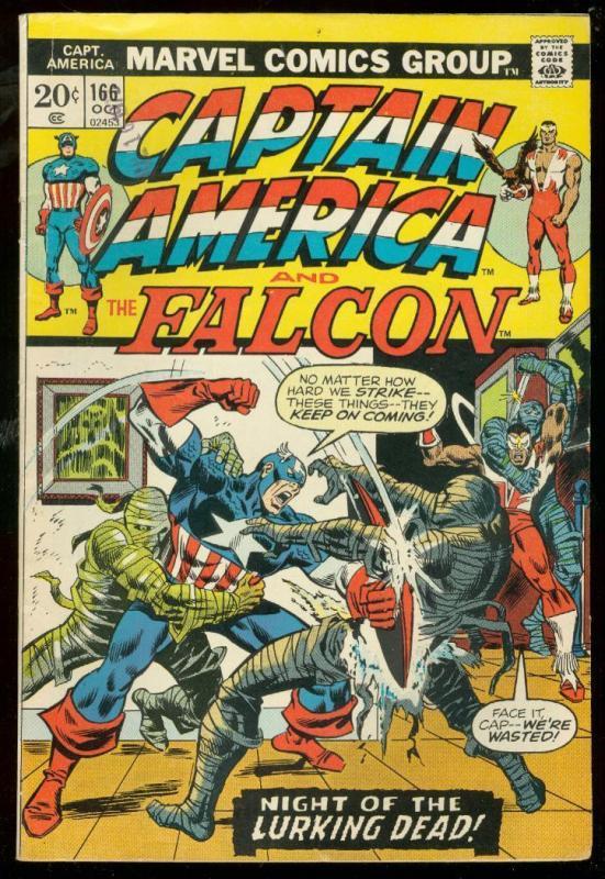 CAPTAIN AMERICA #166 1973-FALCON-LURKING DEAD-MUMMIES FN