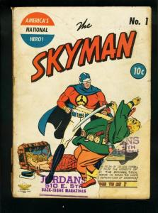 SKYMAN COMICS #1 1941-ASIAN MENACE-TREASURE CHEST-WHITN FR/G
