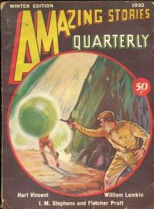 Amazing Stories Quarterly-Winter 1932-ray gun cover-Harl Vincent-Pratt-G