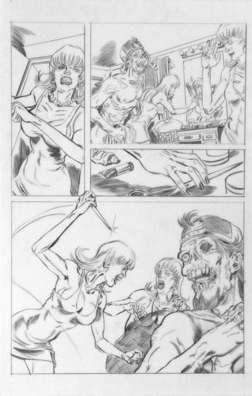 DEAN KOTZ Original Published Art, TRAILER PARK of TERROR #7 page 30,Zombies