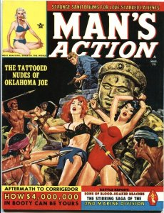 MAN'S ACTION-MAR 1963-BONDAGE TERROR TORTURE COVER-CHEESECAKE-PULP