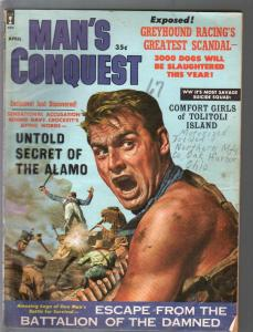 Man's Conquest 4/1960-Alamo-Davy Crockett-Fay Spain cheesecake pix-G/VG