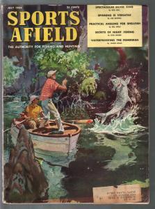 Sports Afield 7/1954-John Pike cover-hunting-fishing-pix-ads-info-VG